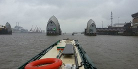 Narrowboat through the Thames Barrier