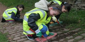 Oulton Brownies working on the towpath