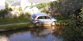 Car on the canal