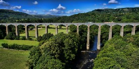 drone wide shot of Pontcysyllte Aqueduct