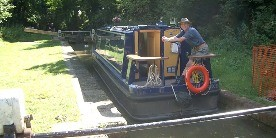 John Lageu, volunteer, on the Oxford Canal just south of Banbury
