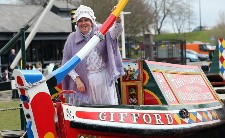 Di Skilbeck MBE at an Easter Boat parade