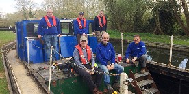 Martin Gillate and volunteers on workboat 'Nelson'