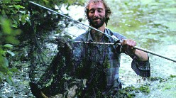 Chris Yates with his net