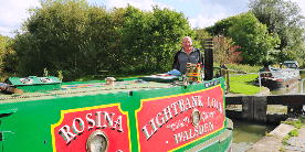 Bob on narrowboat 'Rosina' at Foxton Locks