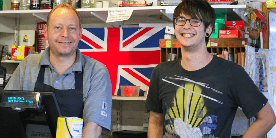 Jonathan and Andy in the shop at Foxton
