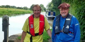 Mike Gaylor with a colleague by the canal