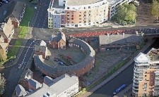 photo of roundhouse from air