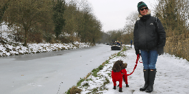 Alex & Betsey, winter walk along the canal