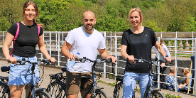 Christine, Molly & Sean, cycling on the Kennet & Avon Canal