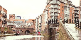 Canal flowing through Birmingham