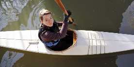Nancy Campbell canoeing, photo taken by Paul Preece