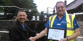 Colin receiving his Lock Volunteer of the Year nomination in 2015