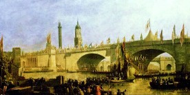 A painting of the opening of London Bridge in 1831