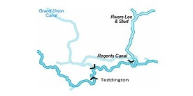Map showing locations of Thames locks