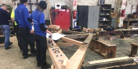 Roof trusses being repaired by apprentices in our workshop