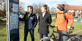 New Stoke signs: Simon Papprill and Cllr J Alistair cyclist