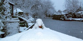 Snow viewed from the bow of a narrowboat