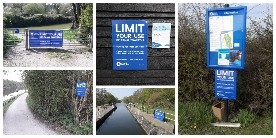 collage of signs of Limit your use of canal towpaths
