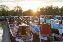 Canal boats moored at Crick Marina