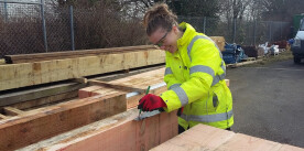 Iona making stop planks for the Chesterfield Canal (Photo: Iona Gibson)