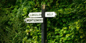 Signposts in a rural setting, one saying 'HELP'