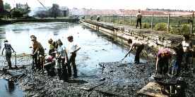 Young people helping to dig out silt from the canal at Ellesmere Port in 1975