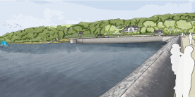 Artist's impression looking across the dam towards the new side channel weir.