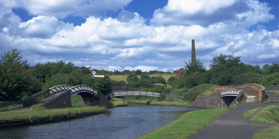 View of three bridges at Windmill End on Dudley Canal