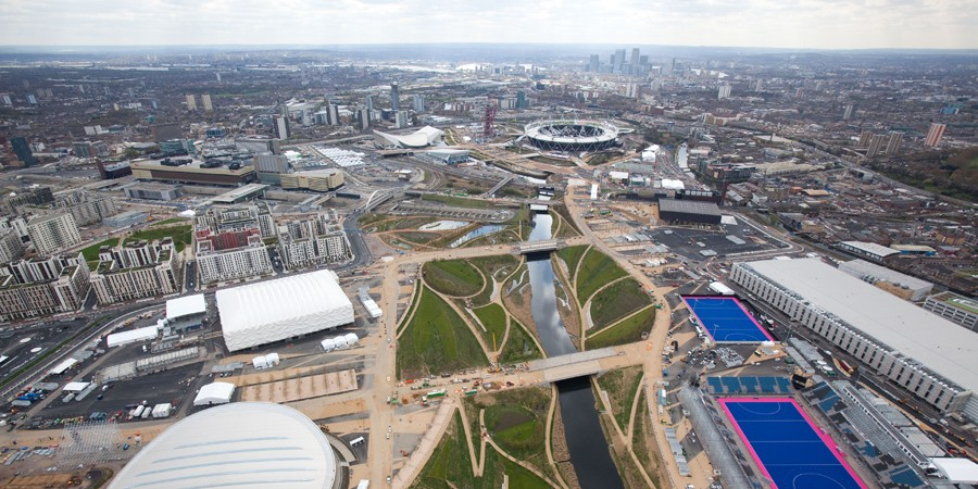 Aerial view of River Lee looking towards the Olympic Park