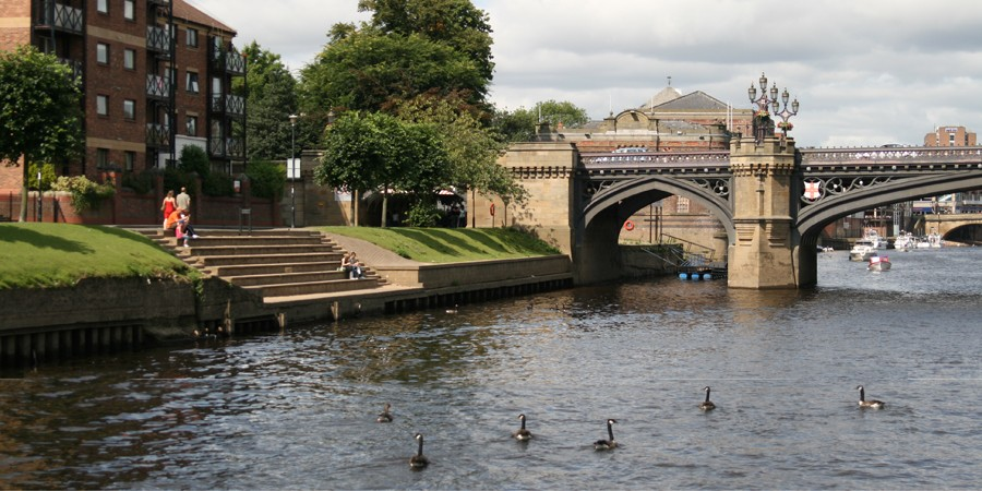 View of bridge over River Ouse in York with geese swimming on the river
