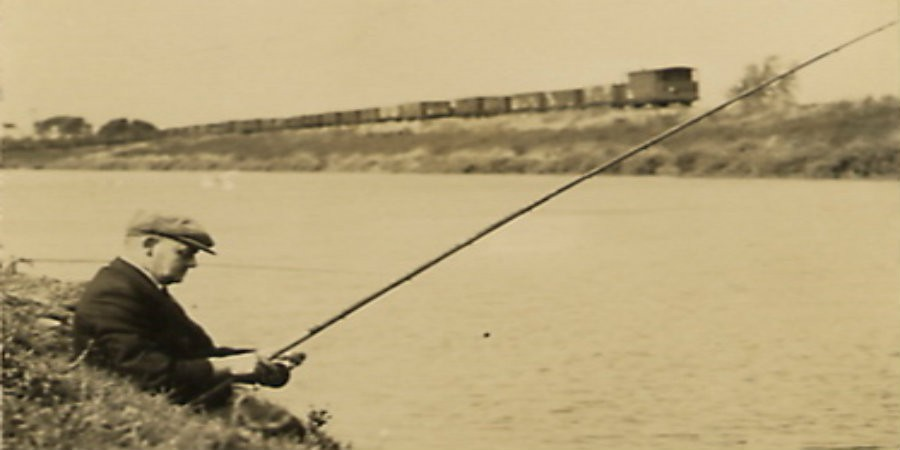 Bob Fuller sat angling on the bank