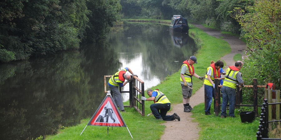 Group of volunteers on canal towpath