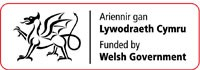 Funded by Welsh Government logo with dragon and red border