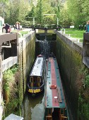Two boats in Deep Lock in Bath, showing depth of lock