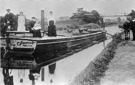 Black and white photo of Lady Fiona on Lancaster Canal