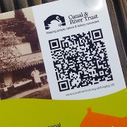 Photo of QR code for Bingley to Saltaire trail on phone
