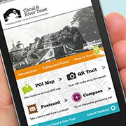Mobile phone with Bingley to Saltaire trail app on screen