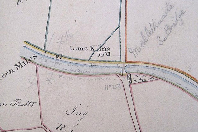 Historic map showing lime kilns beside the canal at Micklethwaite in 1826