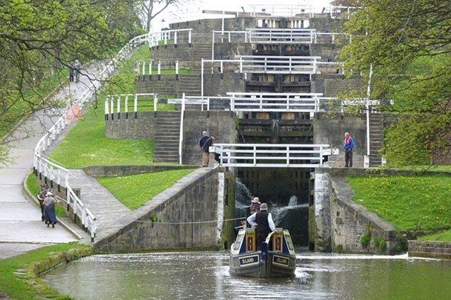 Boat horse Bilbo Baggins pulls narrowboat Elland through the Five Rise Locks in April 2012.