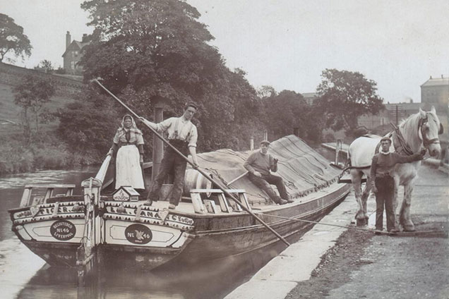Horse drawn boat 'Tiger' around 1900. Horse wearing a large collar to take the strain.