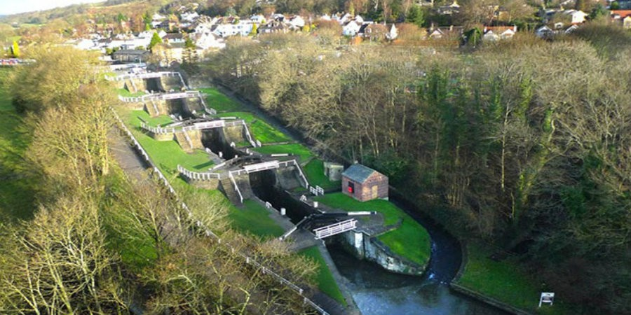 Aerial view of Bingley Five Rise Locks