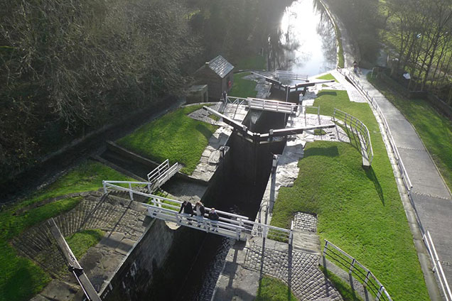 Aerial view of Five Rise Locks from middle