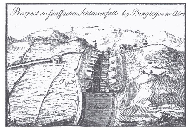 Ink drawing of Five Rise Locks in 1777 showing original lock keeper's cottage