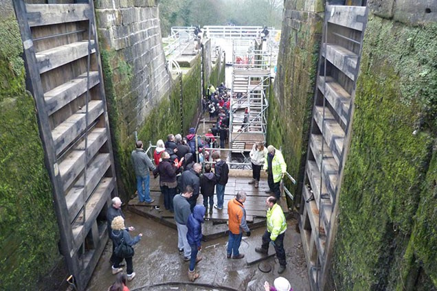Visitors in bottom of Five Rise Locks during 2012 open weekend