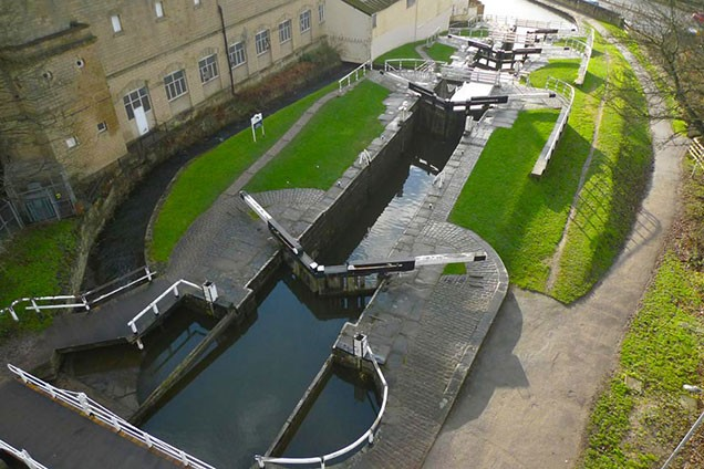 Aerial view from the top of Three Rise Locks with Bowling Green Mills on the left