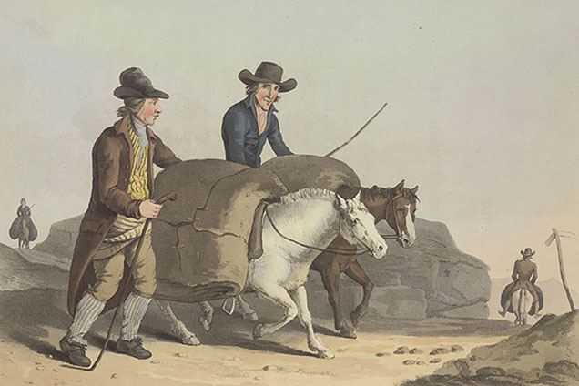 Drawing of two packhorses with packs on backs