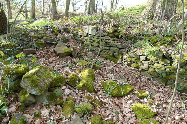 Remains of buildings in Hirst Wood