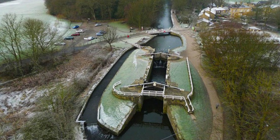 Aerial view of Hirst Lock
