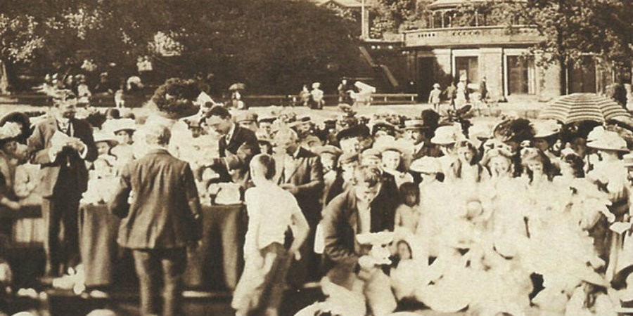 Sports Day in Roberts Park, 1913, with Half Moon Pavilion and the original bandstand in the background.